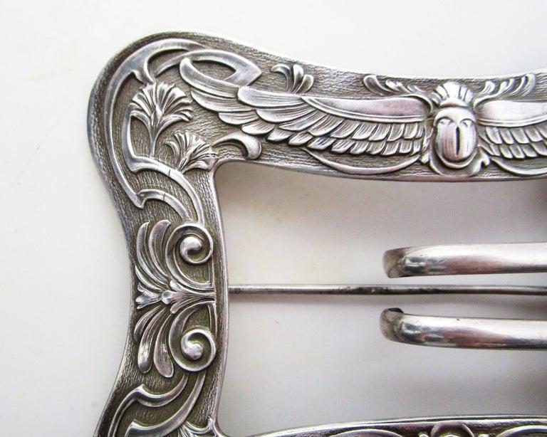 Women's or Men's 1890 Art Nouveau Unger Brothers Sterling Silver Belt Buckle Brooch For Sale