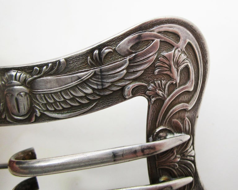 1890 Art Nouveau Unger Brothers Sterling Silver Belt Buckle Brooch For Sale 1