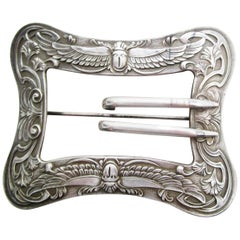 1890 Art Nouveau Unger Brothers Sterling Silver Belt Buckle Brooch