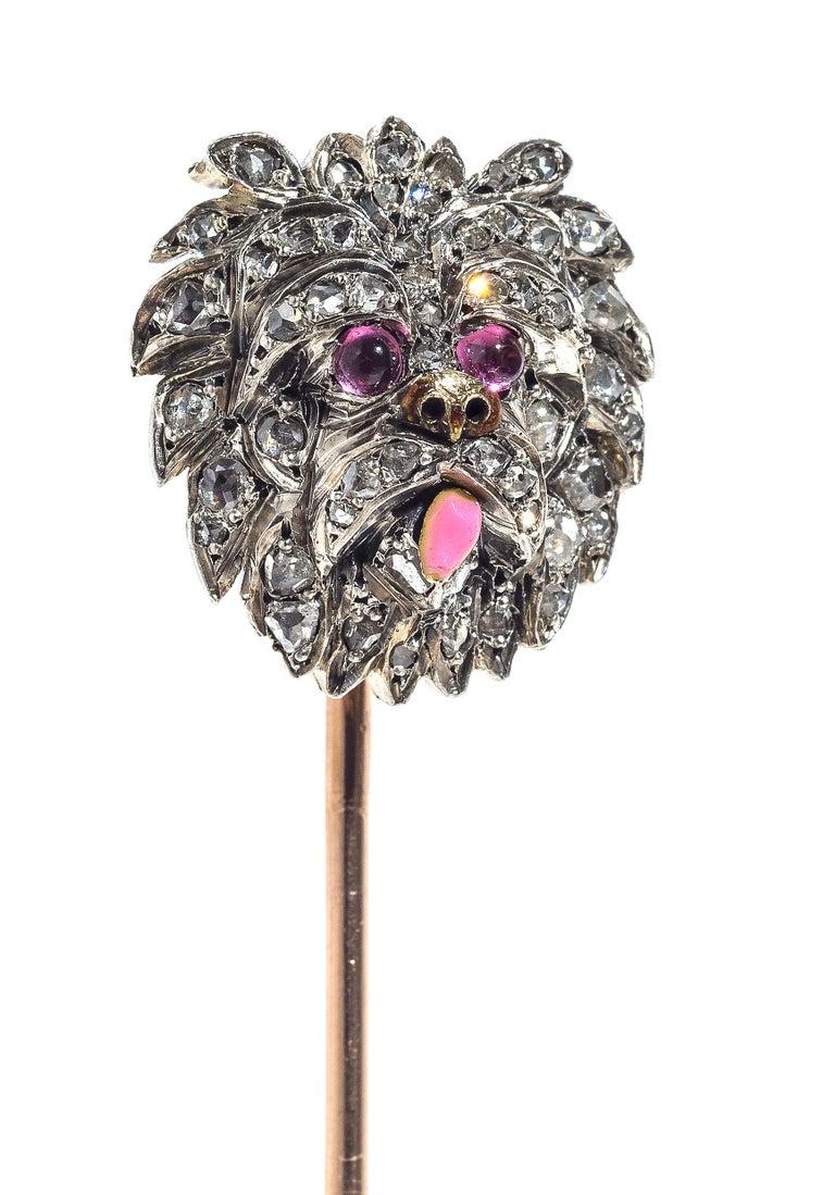 Belle Époque  1890 Belle Èpoque Dog Yorckshire Terrier Stickpin 18 Kt Platinum Diamond Ruby For Sale