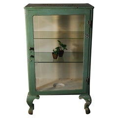 1890 Cast Iron Glass Door Metal Medical Cabinet