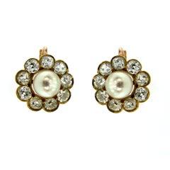 1890 Diamond 5 Carat Gold Pearl Cluster Earrings