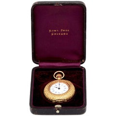 1890 Gold Pocket Watch, Engraved Rowe Brothers, Chicago, with the Original Box