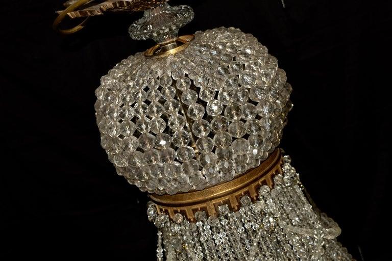 European 1890 Montgolfièr Antique Empire Brass Chandelier Crystal Lamp Lustre Art Nouveau For Sale