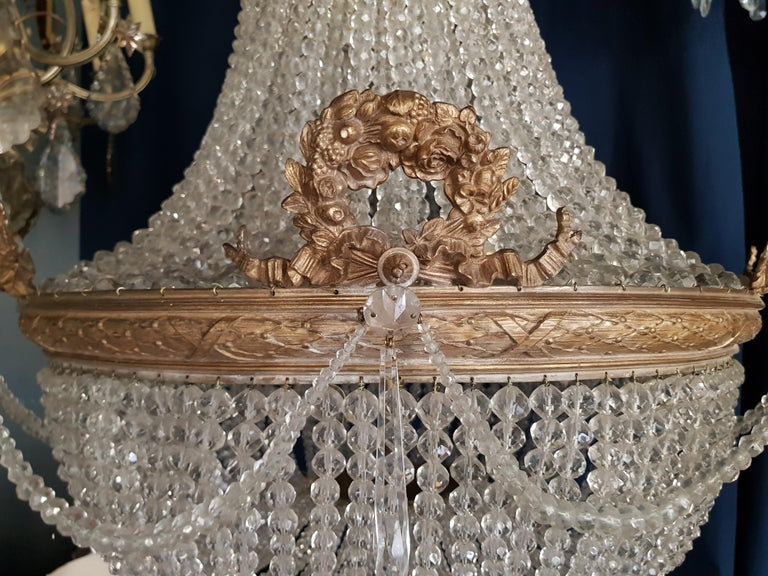 Hand-Crafted 1890 Montgolfièr Antique Empire Brass Chandelier Crystal Lamp Lustre Art Nouveau For Sale