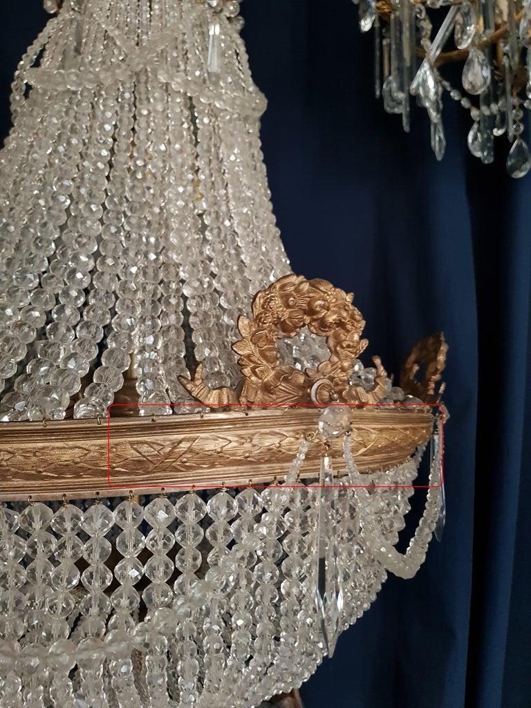 1890 Montgolfièr Antique Empire Brass Chandelier Crystal Lamp Lustre Art Nouveau In Good Condition For Sale In Berlin, DE