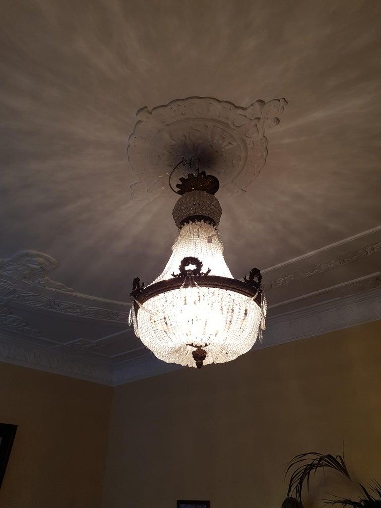 Late 19th Century 1890 Montgolfièr Antique Empire Brass Chandelier Crystal Lamp Lustre Art Nouveau For Sale