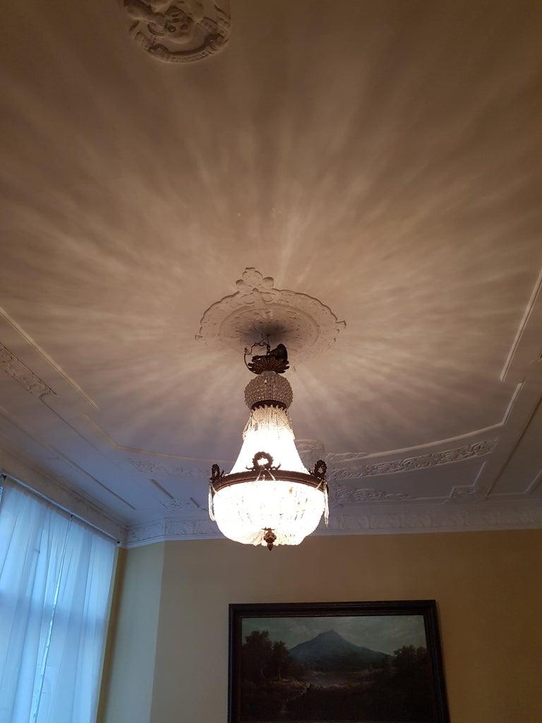 1890 Montgolfièr Antique Empire Brass Chandelier Crystal Lamp Lustre Art Nouveau For Sale 1