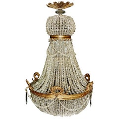 1890 Montgolfièr Antique Empire Brass Chandelier Crystal Lamp Lustre Art Nouveau