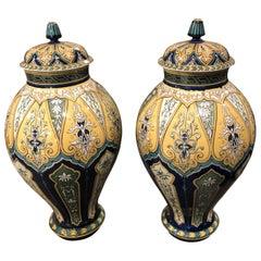 1890 Pair of Art Nouveau Porcelain Sarreguemines French Ginger Jars