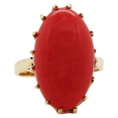1890 Victorian 14 Karat Rose Gold Natural Red Coral Cabochon Ring