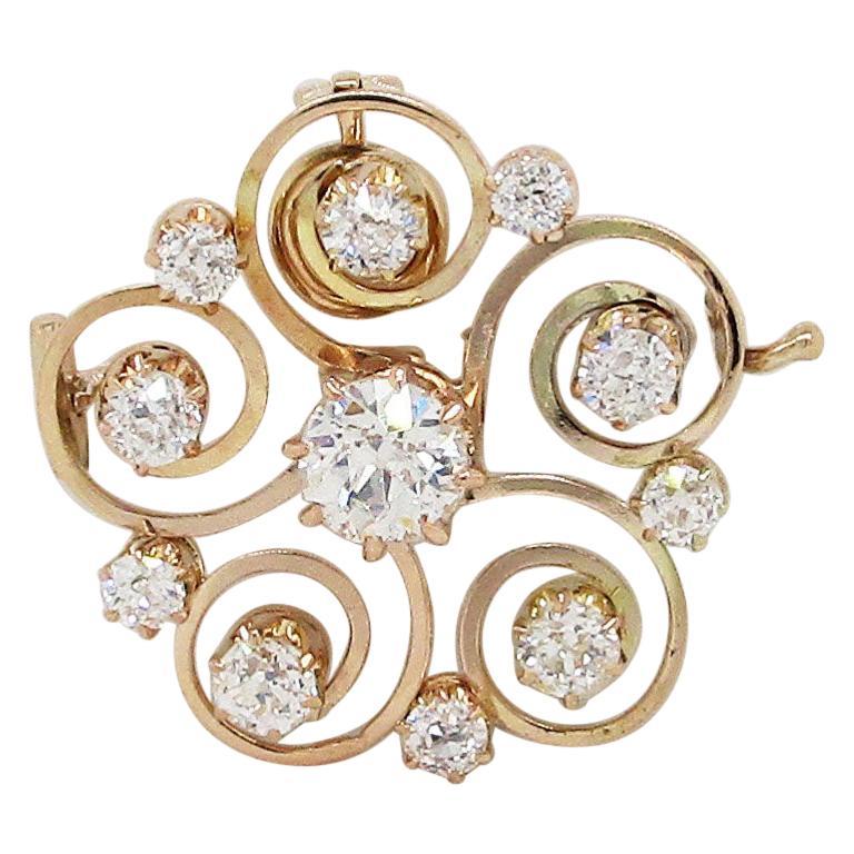 1890 Victorian 14 Karat Yellow Gold and Diamond Swirl Circle Pin Pendant For Sale