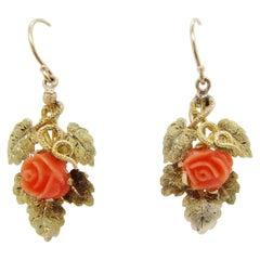 1890 Victorian 14 Karat Yellow Gold Engraved Leaf Coral Rose Dangle Earrings