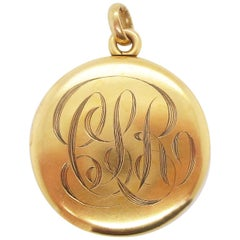 1890 Victorian 14 Karat Yellow Gold Monogrammed Locket