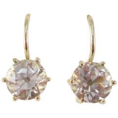 1890 Victorian 14 Karat Yellow Gold Silver Topaz Drop Earrings