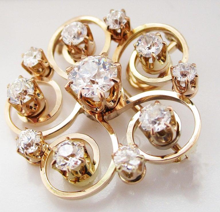 Women's or Men's 1890 Victorian 14 Karat Yellow Gold and Diamond Swirl Circle Pin Pendant For Sale