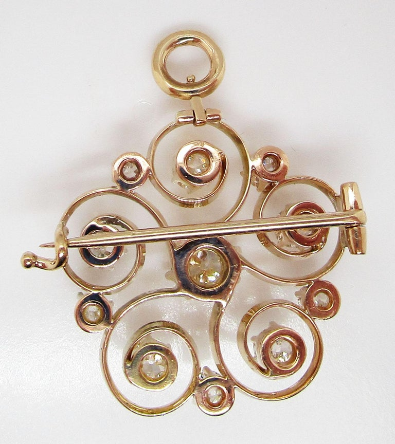 1890 Victorian 14 Karat Yellow Gold and Diamond Swirl Circle Pin Pendant For Sale 2