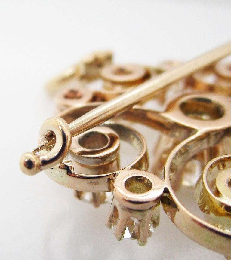 1890 Victorian 14 Karat Yellow Gold and Diamond Swirl Circle Pin Pendant For Sale 3