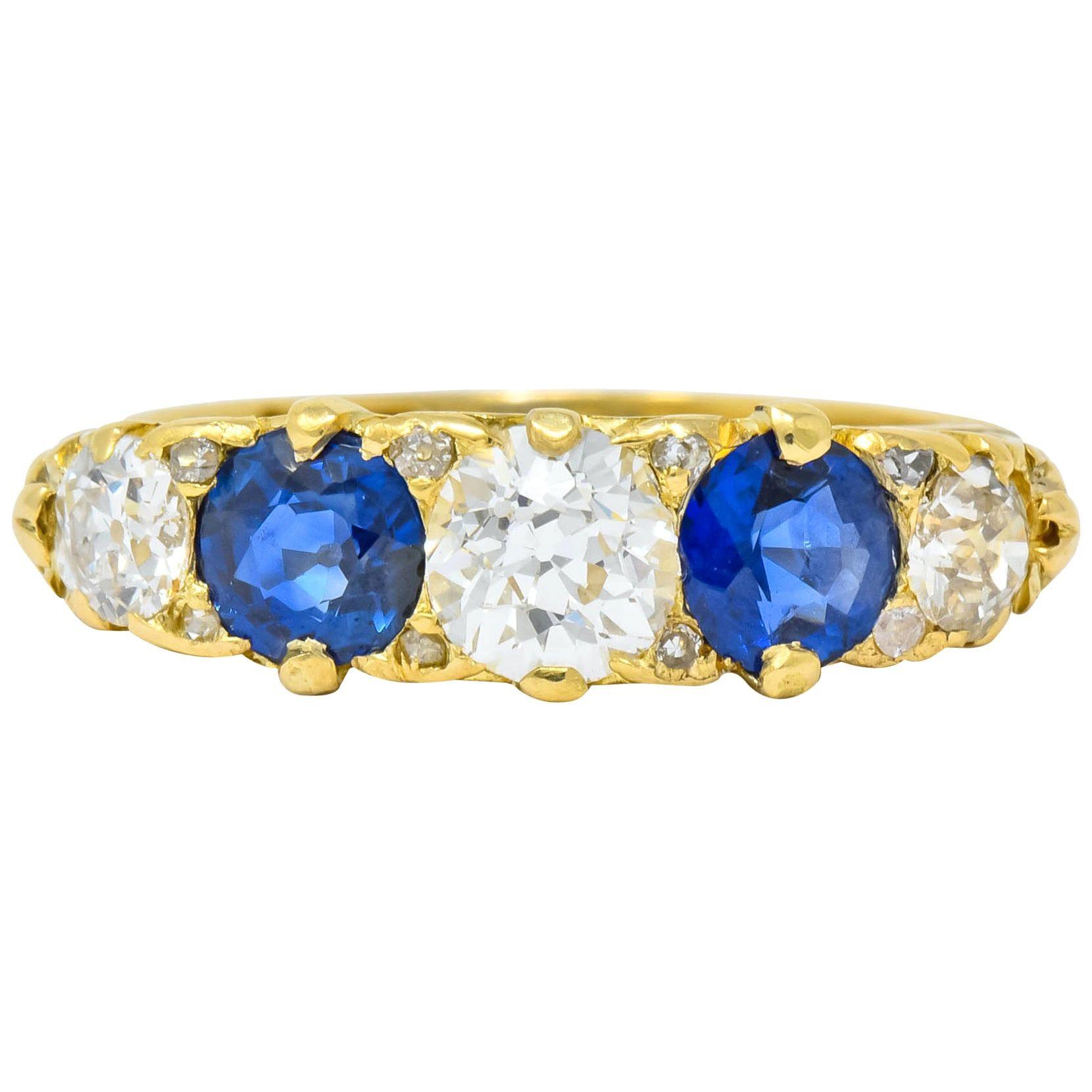 1890 Victorian 2.45 Carat Diamond Sapphire 18 Karat Gold Scrolled Band Ring