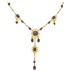 1890 Victorian Amethyst Pearl 14 Karat Gold Drop Necklace