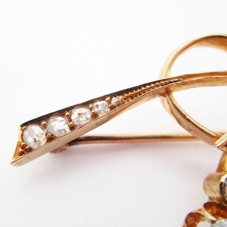 Late Victorian 1890 Victorian Imperial Russian Diamond Pin in 14 Karat Rose Gold For Sale