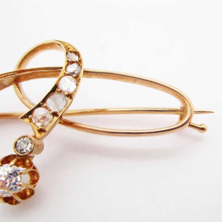 Rose Cut 1890 Victorian Imperial Russian Diamond Pin in 14 Karat Rose Gold For Sale