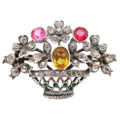 1890 Victorian Sterling Silver Paste Flower Basket Brooch