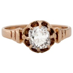 1890s 1 Carat Old Mine Diamond Engagement Ring, 18 Karat Gold