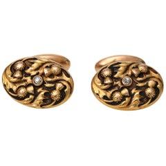 1890s .10 Carat Old Mine Cut Diamond Cufflinks in 14 Karat Yellow Gold