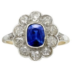 1890s 1.28 Carat Sapphire 1.65 Carat Diamond Gold Cluster Ring