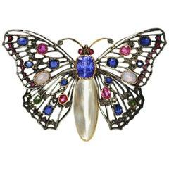 1890s-1910s Era Art Nouvea Vintage Butterfly Pendant Decorated with Multi Stones