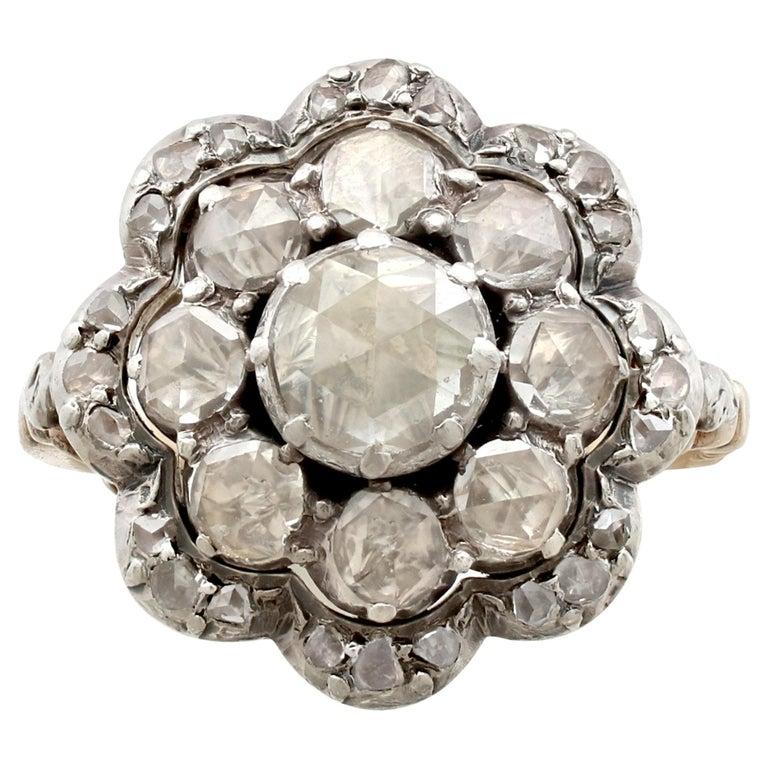 1890s Antique 1 07 Carat Diamond Yellow Gold Cocktail Ring