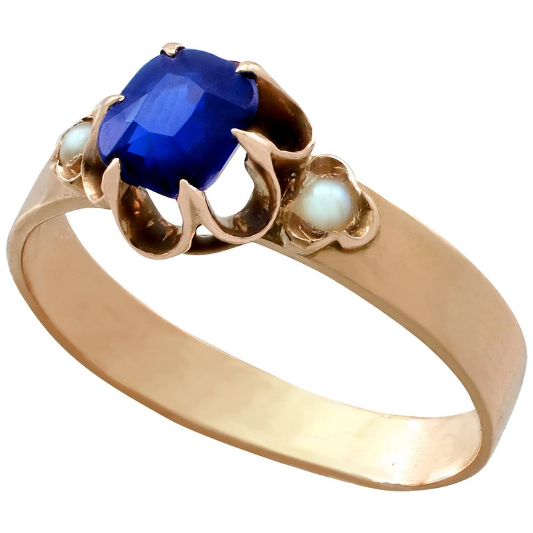 1890s Antique 1 09 Carat Sapphire Pearl Yellow Gold Cocktail Ring