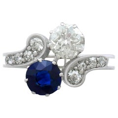 1890s Antique 1.19 Carat Sapphire and 1.28 Carat Diamond White Gold Twist Ring