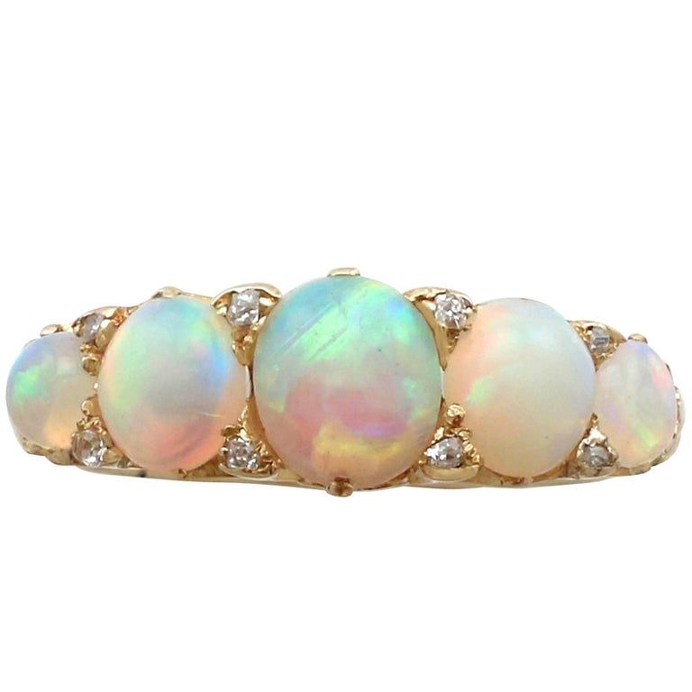 1890s Antique 1.72 Carat Opal and Diamond Yellow Gold Five-Stone Ring