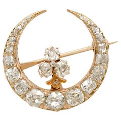 1890s Antique 2.13 Carat Diamond and Yellow Gold Crescent Brooch