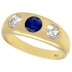1890s Antique Blue Sapphire and Diamond Yellow Gold Ring