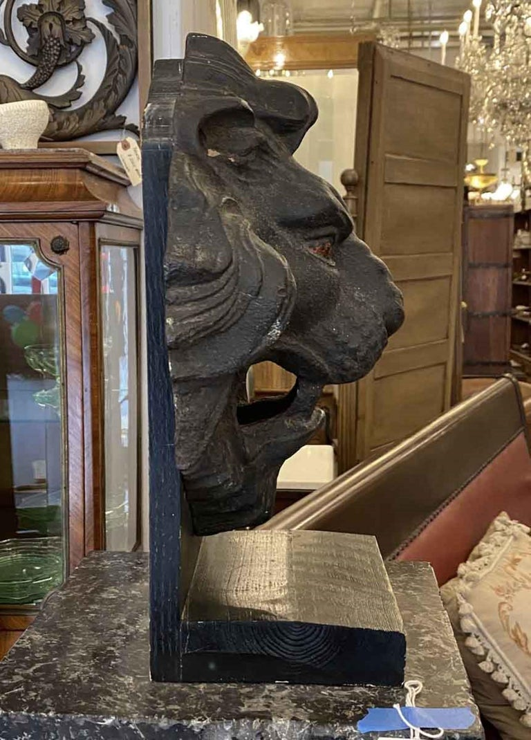 1890s Antique Cast Iron Lion Head 3 Dimensional Mounted on a Painted Wood Base For Sale 1