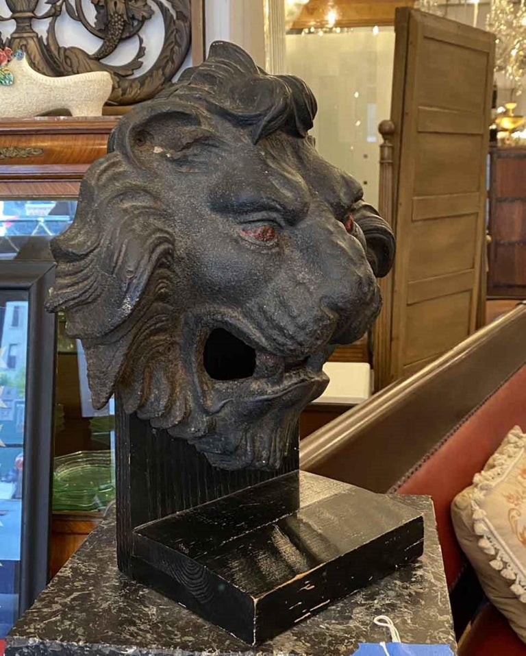 1890s Antique Cast Iron Lion Head 3 Dimensional Mounted on a Painted Wood Base For Sale 2