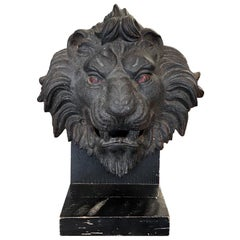 1890s Antique Cast Iron Lion Head 3 Dimensional Mounted on a Painted Wood Base