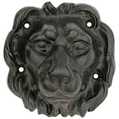 1890s Antique Cast Iron Lion Head in Black Finish from Western MA