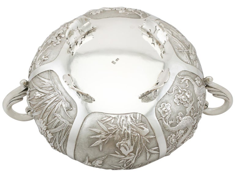 1890s Antique Chinese Export Silver Bowl For Sale 7