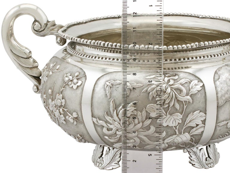 1890s Antique Chinese Export Silver Bowl For Sale 8