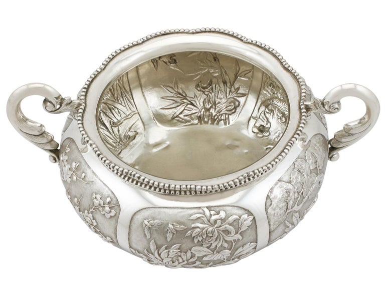 Late 19th Century 1890s Antique Chinese Export Silver Bowl For Sale