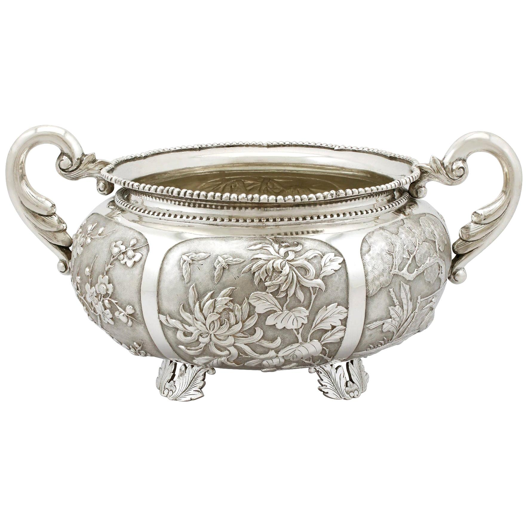 1890s Antique Chinese Export Silver Bowl