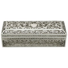 1890s Antique Chinese Export Silver Box by Wang Hing & Co