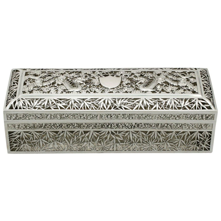 1890s Antique Chinese Export Silver Box by Wang Hing & Co For Sale