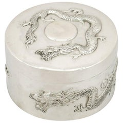 1890s Antique Chinese Export Silver Box by Wang Hing