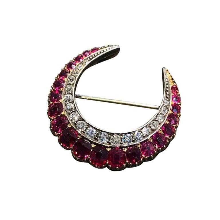 1890s Antique Crescent Ruby Diamond Brooch For Sale