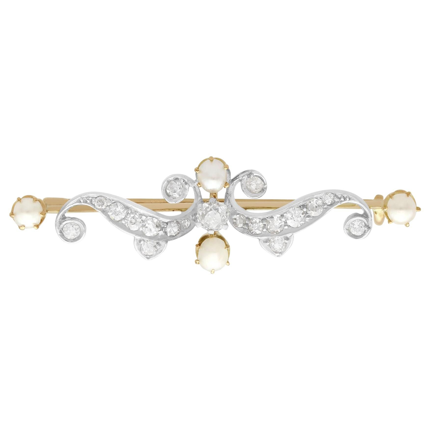 1890s Antique Diamond and Pearl Yellow Gold Brooch